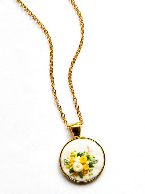 Martha's Hand Embroidered Flowers Necklace   Embroidered Jewelry   Embroidery Necklace Wedding Gift Fiber Art   Round Pendant