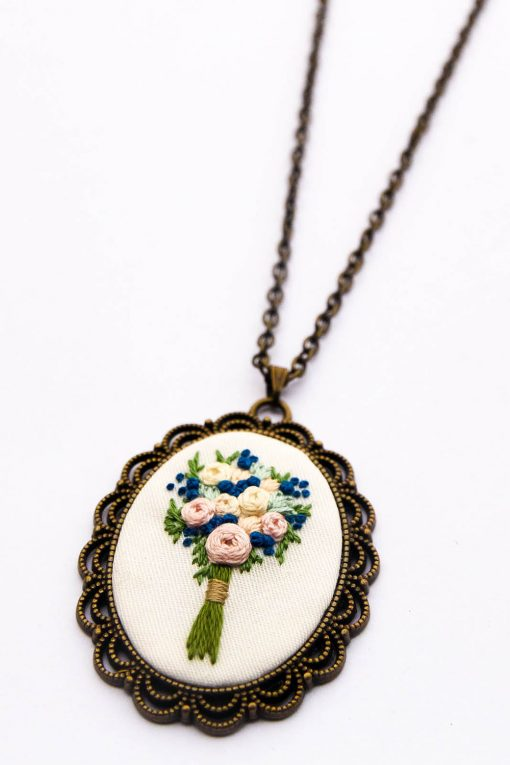 Zadie's Hand Embroidered Bouquet Necklace | Blue Flower Embroidery Jewelry | Bridal Party Gift | Something Blue Boho Wedding