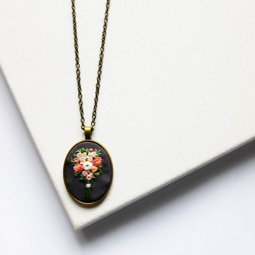 Hand Embroidered Bouquet Necklace   Embroidered Personalized Pendant   Anniversary, Christmas Gift Jewelry for Bridesmaid, Friend, Sister