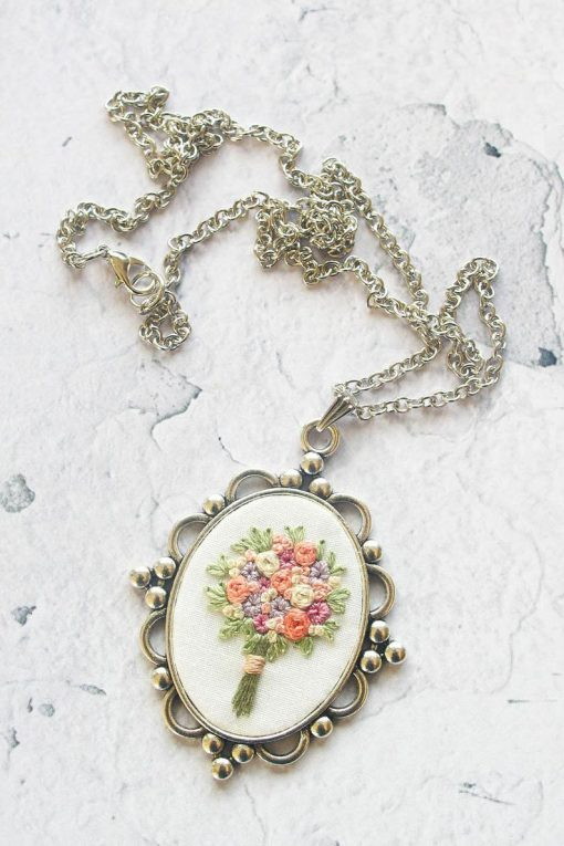Harriet's Hand Embroidered Bouquet Necklace Jewelry