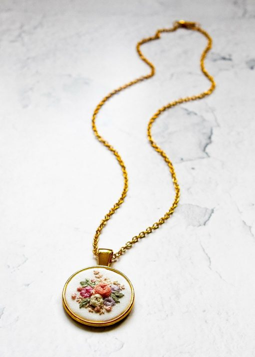 Harriet's Hand Embroidered Flower Necklace   Embroidered Jewelry   Embroidery Wedding Gift Fiber Art   Gold Silver Round Pendant