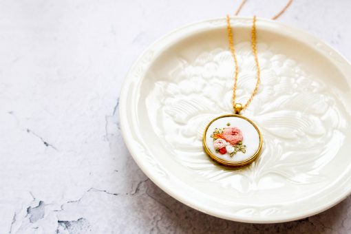 Erin's Hand Embroidered Flowers Pendant Necklace