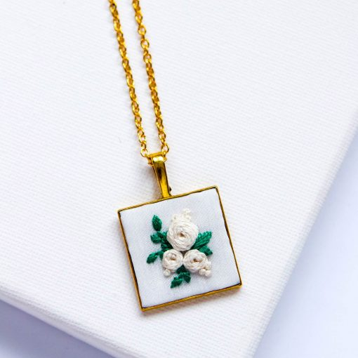 Rosa in Square Pendant | Hand Embroidered Ecru Forest Green Necklace | Gold Silver Brass Barong Inspired Embroidery Jewelry