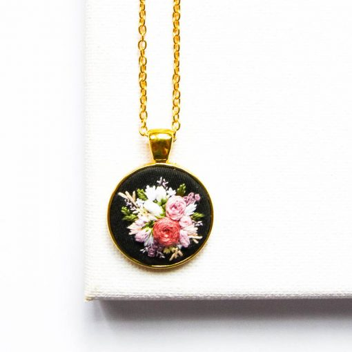 Hand Embroidered Flower Necklace | Floral Embroidery Statement Round Pendant | Black Jewelry | Personalized Pendant | Anniversary Gift